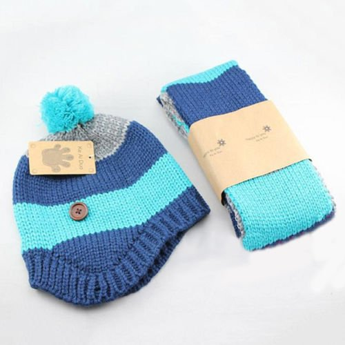 [Newly Baby Beanie Scarf Set Fashion Striped Kids Crochet Cap Warm Winter Hat] (Elephant Costume 4 Year Old)