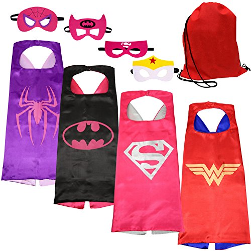 [SPESS Costumes Girl Cape and Mask with Red Bag] (Red Halloween Kids Costumes)