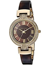 Anne Klein Womens AK/2894BNTO Swarovski Crystal Accented Gold-Tone and Tortoise Resin Bangle Watch