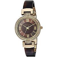 Anne Klein Women's Quartz Metal and Resin Dress Watch, Color:Brown (Model: AK/2894BNTO)