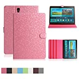 Samsung Galaxy Tab S 8.4 inch Case,Dingrich Slim Folding Cover Case With Auto Sleep/Wake Feature-PU Leather Protective Cover for Tab S 8.4 inch (SM T700 T705) +Stylus Pen+Screen Protector(Pink)