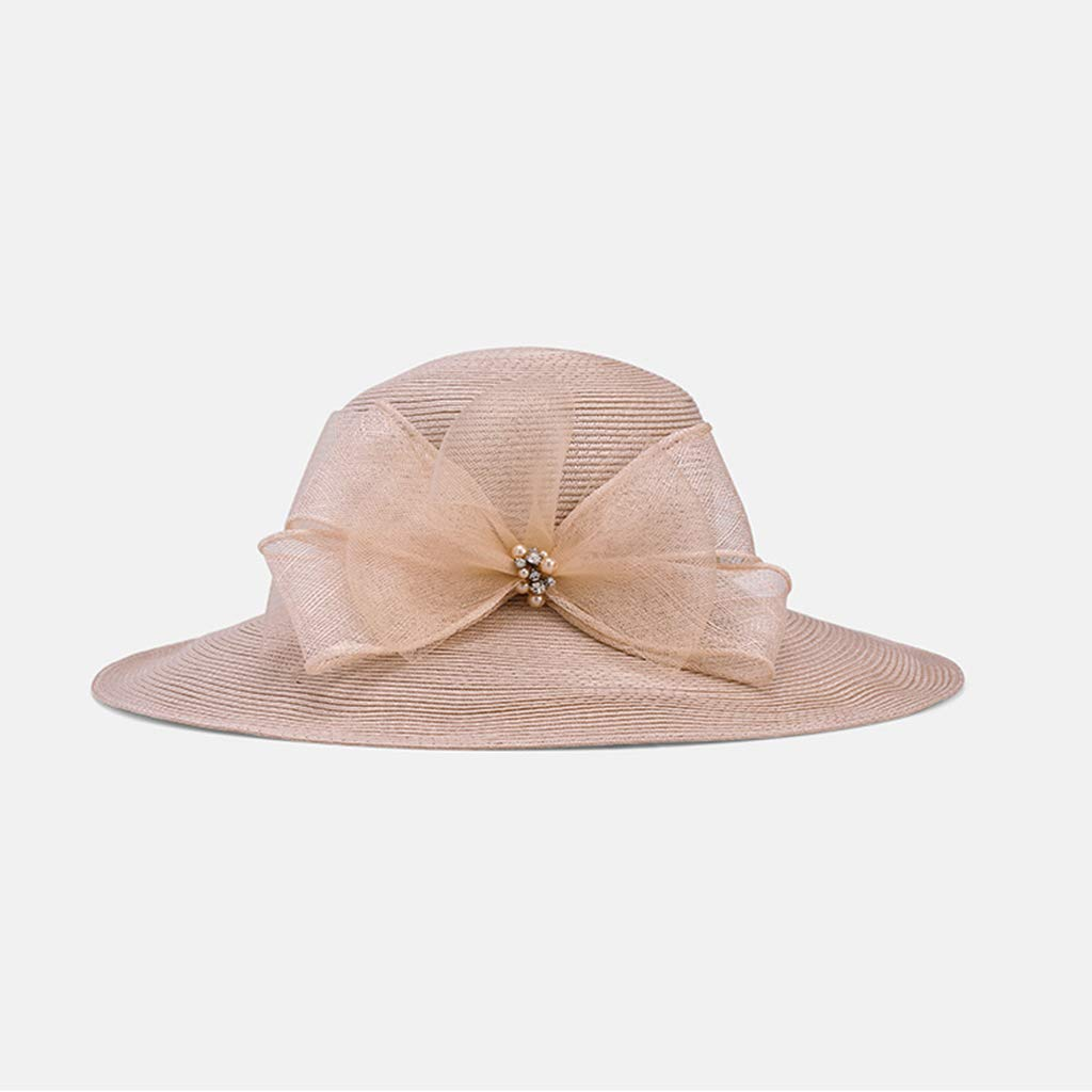 女性のファッションビーチUV保護弓装飾エッジ広い麦わら帽子折りたたみ太陽帽子