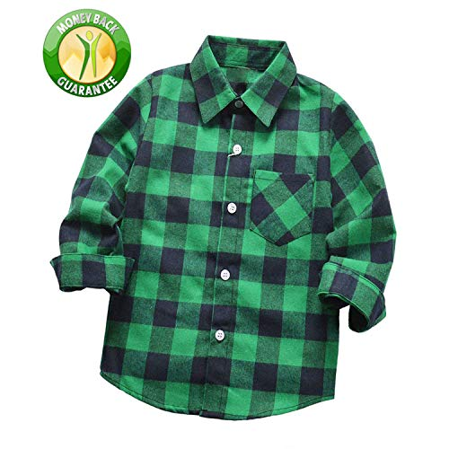 Rainlover Little Boys' Long Sleeve Button Down Plaid Flannel Shirt (3T, Green) -