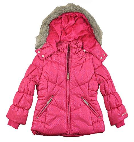 Faux Fur Trim Coat - London Fog Little Girls Sparkle Outerwear Coat W/Faux Fur Hood Trim (2T, Pink)