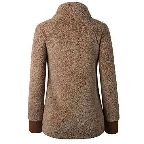 Gyozelem Womens Long Sleeve Sherpa Fleece Pullover Coat Sweatshirt Outwear Tops Sweater Small Coffe by Gyozelem (Image #3)
