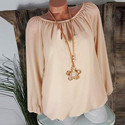Beige Shirts T Manches Couleur Blouse Loose Femmes Solides Pure Innerternet Tops Tunique Casual Grande Blouse Taille Longues Tops xnXTq1R