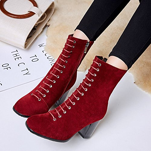 Carolbar Womens Lace Up Vintage Zip Square Toe Retro High Heel Short Boots Wine Red X5VBERfi