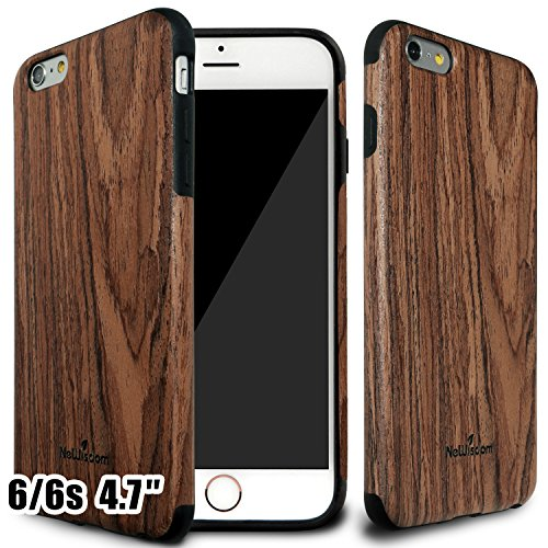 NeWisdom iPhone 6 6S Wood Case 4.7 inch Thin Slim Non Slip Eye Catching Cover Sandalwood