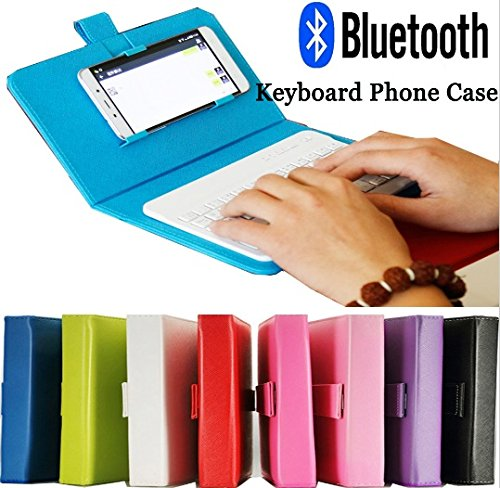 Price comparison product image ELECTSHONG Bluetooth Leather case with Wireless Keyboard for iPhone X 6 6S for iPhone 7 8 Plus Bluetooth Keyboard Phone Case for All Android & iOS cellphones (Blue in Store)