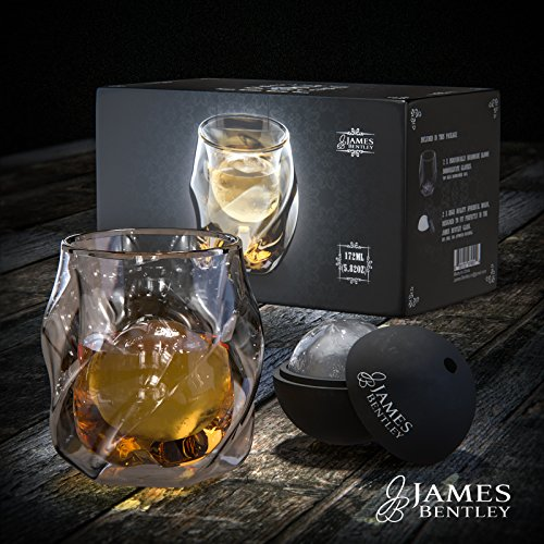 James Bentley Double Wall Whisky Glasses set+FREE Sphere Ice Ball Mold x2 for whiskey glass set, Set of 2, Unique Tumblers for Drinking Scotch, Bourbon, Brandy, Liquor, Luxury Gift Set