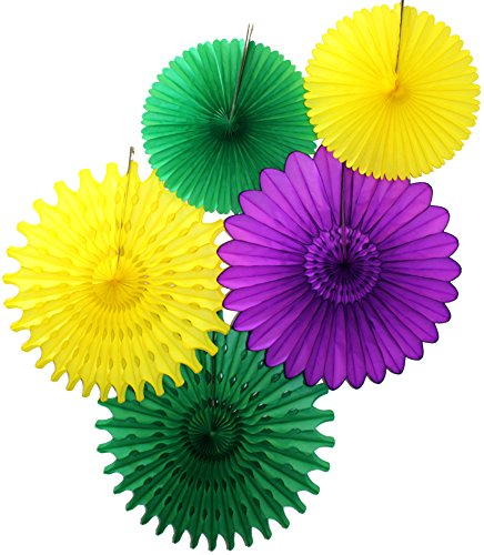 Tissue Paper Fan Collection - 5 Large Assorted Fans (Mardi Gras - Purple, Yellow, Green, 18 and 13 inches)