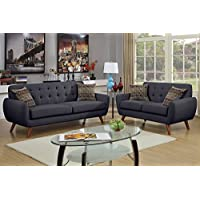 2Pcs Modern Ash Black Polyfiber Linen-Like Fabric Sofa Loveseat Set with Accent Tufting on the Low Back Support and Plush Seating