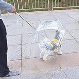 Useful Transparent PE Pet Umbrella Small Dog Umbrella Rain Gear with Dog Leads Keeps Pet Dry Comfortable in Rain and Snow