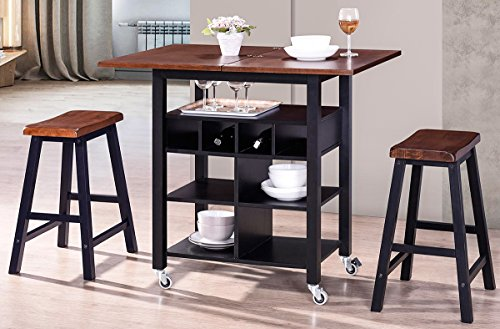 Dining Kitchen Room Island Set (Harper&Bright Designs WF038521BAA 3-Piece Table Set)