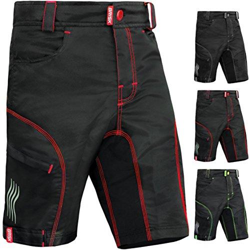 Brisk Bike MTB Shorts MTB Shorts Padded MTB Shorts Fox MTB Shorts Altura MTB Shorts Entura MTB Shorts Men MTB Shorts Women All Season Cycling Shorts (Medium, Black Red)