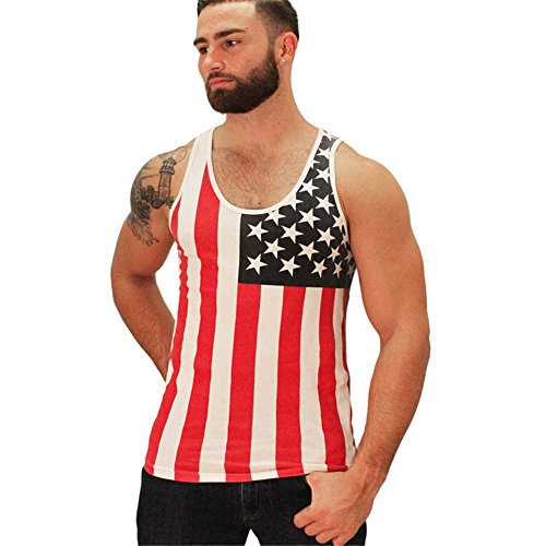 American Flag Cotton Sleeveless Vest Top Fashion T-shirt MY WONDERFUL WORLD Red Black XSmall (Charlie Sheen Bowling Shirts Sale)