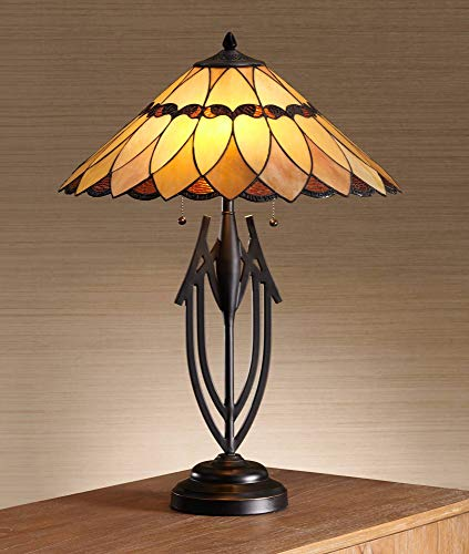 Shiloh Traditional Table Lamp Dark Bronze Sculptural Tiffany Style Scallop Stained Art Glass Shade for Living Room Bedroom Bedside Nightstand Office Family - Robert Louis Tiffany ()