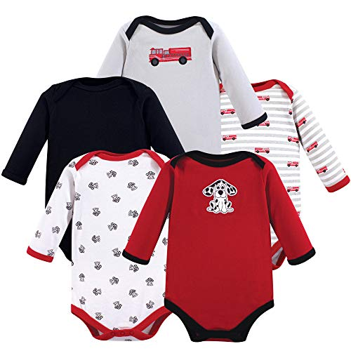 Luvable Friends Unisex Baby Long Sleeve Cotton Bodysuits, Fire Truck 5 Pack, 3-6 Months (6M)]()