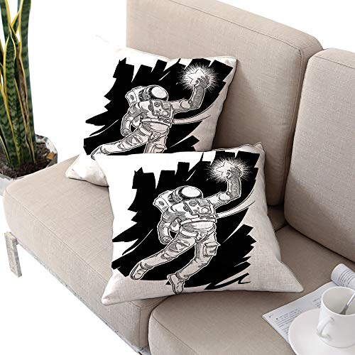 Astronaut Square chaise lounge cushion cover ,Sketch of Spaceman Grabbing a Star Achivement Discovery Zero Gravity Technology Black White W16