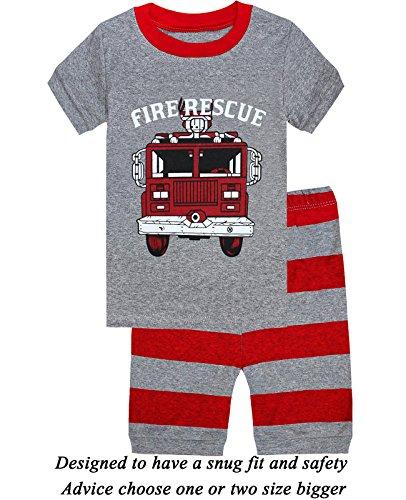 Boys Pajamas 100% Cotton Firetruck Short Kids Pjs Summer Toddler Sleepwear Children Clothes 2t -