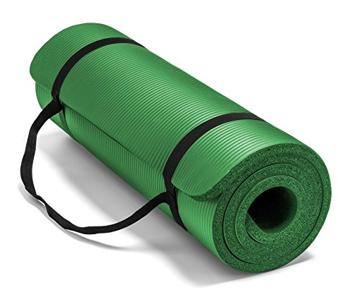 Spoga Premium Extra Thick Long High Density Exercise Yoga Mat with Comfort Foam and Carrying Straps, Dark Green 72' 24'