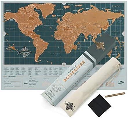 Póster de mapa del mundo personalizado, tamaño de viaje, edición de viaje, color Backpacker Edition: Amazon.es: Oficina y papelería