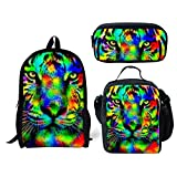 Coloranimal 3 Piece Sets Children Girls Boys School Backpacks Bagpack with Thermal Insulated Cooler Warm Lunchbox Pouch Zipper Closure Pencil Case