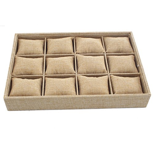 Santfe Beige Linen Bracelet Jewelry Case Box Storage Holder Watch Organizer with 12 Grids