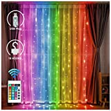 LED Color Changeable Backdrop Curtain Lights with Remote - USB Plug-in Fairy String Light Hanging Window Icicle Lighting for Home Dorm Room Christmas Holiday Decoration (Curtain Light - RGB)