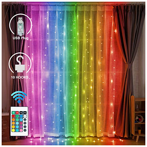 LED Color Changing Backdrop Window Curtain Lights with Remote - USB Plug-in Rainbow Fairy String Light Hanging Icicle Lights for Home Christmas Holiday Decoration (RGB)