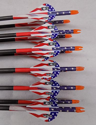 Gold Tip XT Hunter 5575/400 Carbon Arrows w/Blazer Vanes Flag Wraps 1Dz. (5575 Carbon)