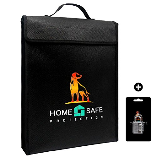Fireproof Safety Bag For Money & Document Or Laptop - Non-itchy,Fire And Water Resistant, Zipper Closure, Silicone Coated Fiberglass Security Briefcase For Maximum Storage (USA Specialized Version) ()