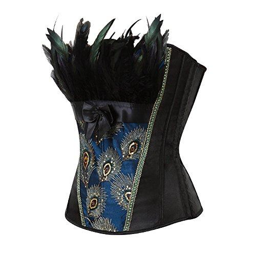 Grebrafan Elegant Bustiers Overbust Peacock Overbust Feather Renaissance Corset Top (EU(40-42) 2XL, Black)