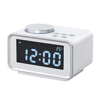 XJYA Reloj Despertador Digital con Pantalla de Radio FM Altavoz de Entrada Auxiliar Termómetro de Interior