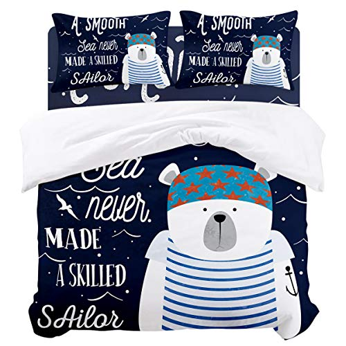 SIGOUYI Luxury Brushed Microfiber Duvet Cover Set, Queen Size - 4 Piece Bedding Set Comforter Quilt Cover with Zipper Closure and 2 Pillow Shams, Nautical Theme Sailor Bear Blue