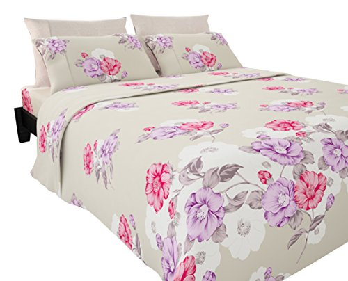 Sapphire 1800 Collection 33351 Cotton Essential Designer 6 Pcs 1800 Series Printed Sheet Set In Double Side Brushed Micro Cotton Fabrication with Bonus Pillowcase by Sapphire,Floral Pink,Queen (Floral Pink Sapphire)