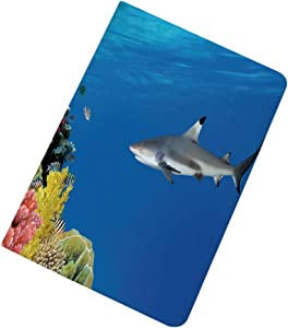 Shark iPad 10.2 Case 2019 iPad 7th Generation Case,Tropical Underwater World with Fishes Swimming and Coral Reef Serene Wildlife Picture Slim Stand Hard Back Shell Protective Smart Cover Case for iPad