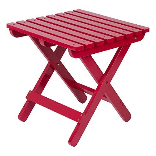 Shine Company Inc 4109TR Adirondack Square Folding Side Table, Tomato Red