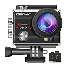 Campark ACT74 Sports Action Camera 4K 16MP 30M Underwater Waterproof Camcorder with WiFi 2 Batteries Mounting Accessories Kits