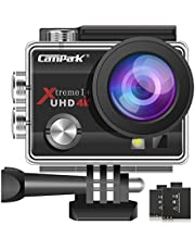 Campark ACT74 Action Camera 16MP 4K WiFi Waterproof Sports Cam 170 Degree Ultra Wide-Angle Len 2 Pcs Rechargeable Batteries Mounting Accessories Kits
