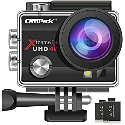 Campark ACT74 Action Camera 16MP 4K WiFi Waterproof Sports Cam 170 Degree Ultra Wide Angle Lens with 2 Pcs Rechargeable Batteries and Mounting Accessories Kits