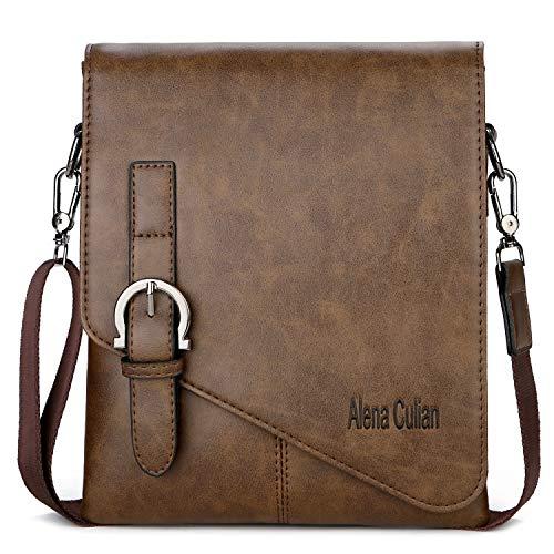 Men Shoulder Bag Waterproof Leather Small Crossbody Bag for iPad(brown)
