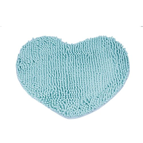 2016 New Bathroom Rug Cushion, Owill® Bedroom Door Mat Heart Shaped Carpet Fluffy Chenille Rug Cushion 15.7x19.7 inch (Blue)