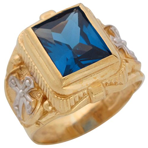14k Two-Tone Gold Mens Wide Simulated Rectangle Blue Zircon Religious (Rectangle Two Tone Ring)