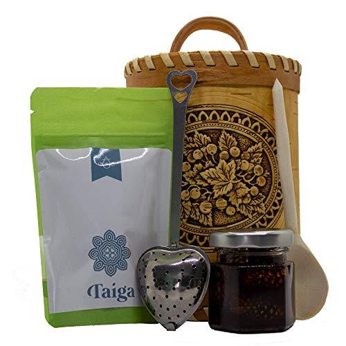 TASTE OF TAIGA Willoherb (Fireweed, Ivan Chai) Herbal Tea and Jam Gift Set in a Handmade Birch Bark - Birch Boxes Bark
