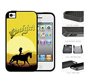 Cowgirl Horse Riding In The Sunset 2-Piece Dual Layer High Impact Rubber Silicone Cell Phone Case Apple iPhone 4 4s