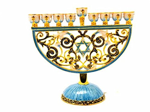 Menorah Decorative Pewter - Ciel Collectables Decorative Menorah with Star of David Swarovski Crystals Blue and White Enamel on Solid Pewter