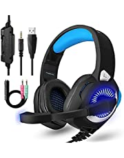 PHOINKAS PS4 Gaming Headset Xbox One Headset MAC Tablet Nintendo Switch PC Laptop Smart Mobile Gaming Headset with Mic LED Lighting OverEar Headphone Noise Cancelling & Volume Control