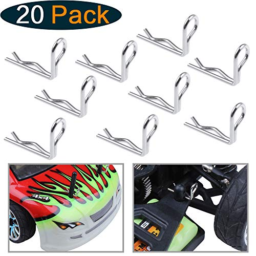HobbyPark RC 1/16 1/18 Body Clips 90-Degree Angle Springy Pins for Traxxas Redcat Racing WLtoys A959 Car Truck Buggy Drift Touring (20-Pack) - Wide Wing Body