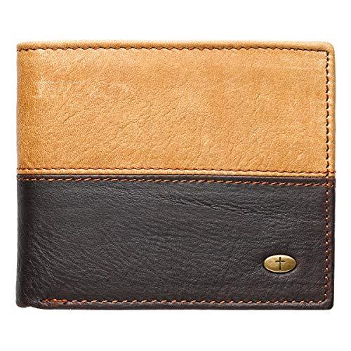 Two-Tone Genuine Leather Wallet w/Cross - Gear Stud
